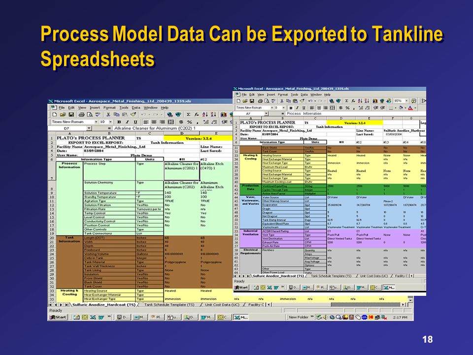 18 Process Model Data Can be Exported to Tankline Spreadsheets