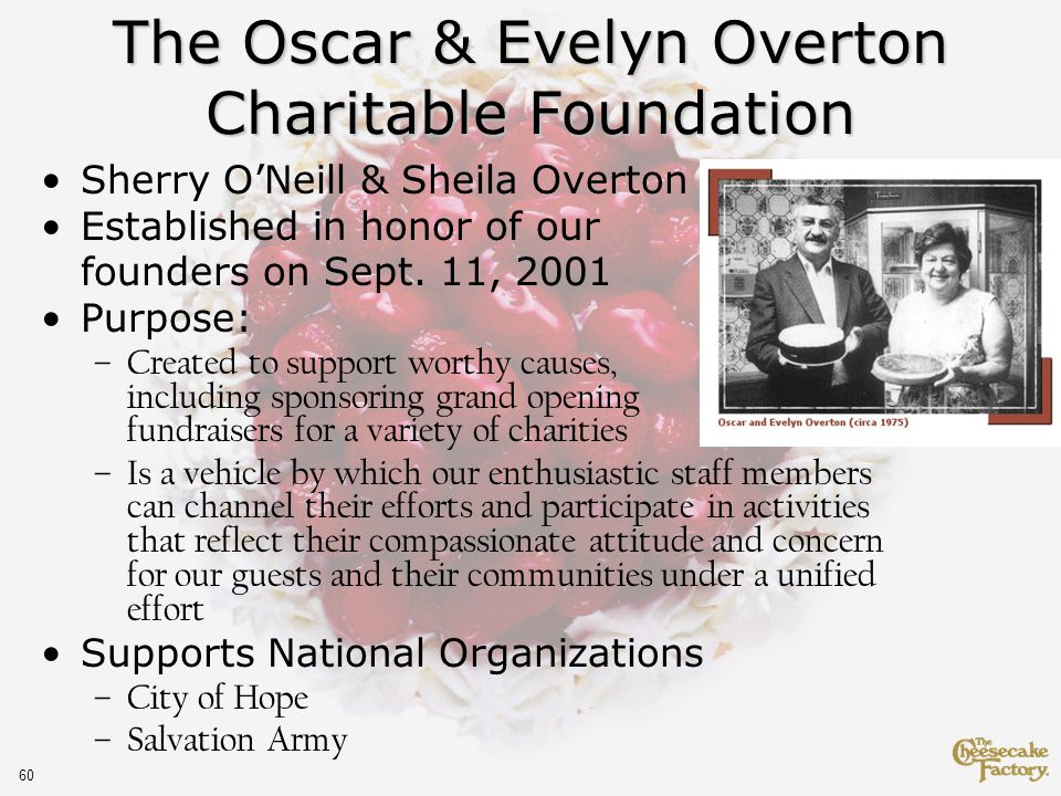 60 Sherry ONeill & Sheila Overton Established in honor of our founders on Sept.