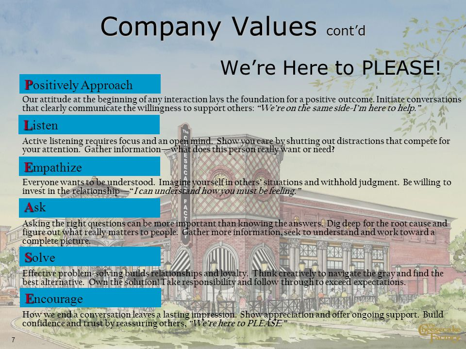 7 Company Values contd Were Here to PLEASE.