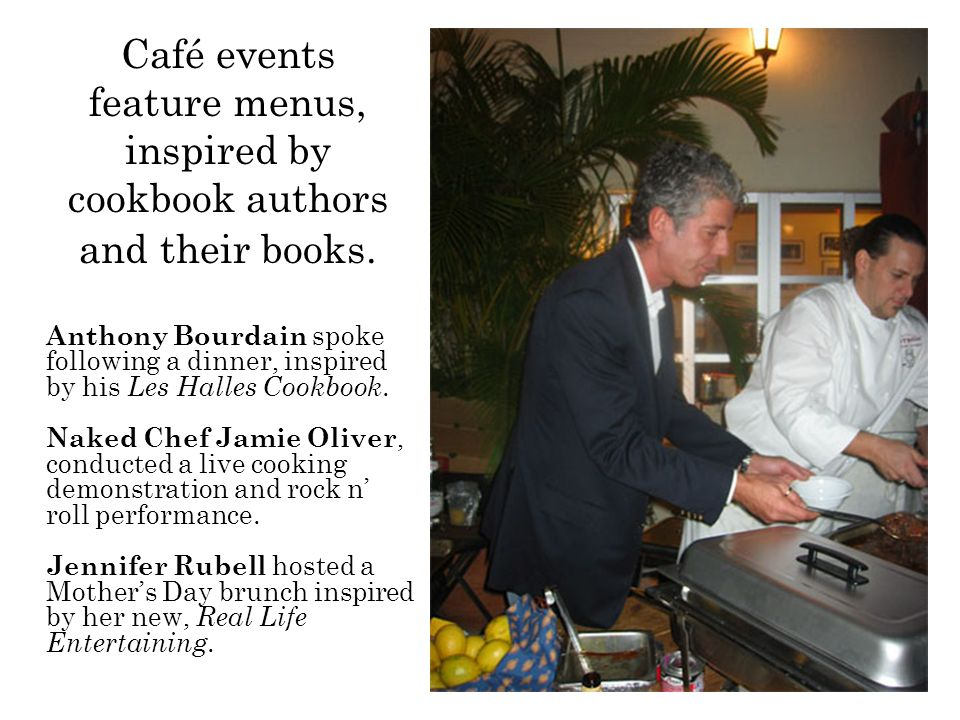 Café events feature menus, inspired by cookbook authors and their books.