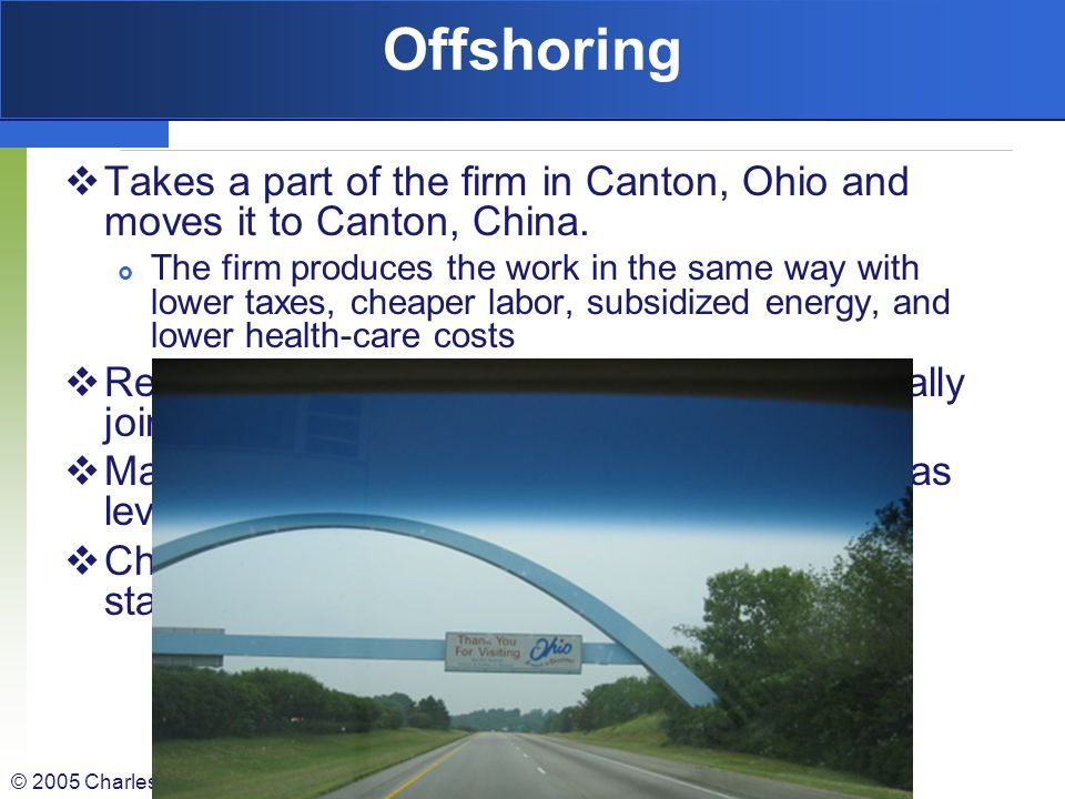 © 2005 Charles F. Robinson Outsourcing v. Offshoring Outsourcing- Take specific, but limited function that you were doing in-house, eg Research Docume