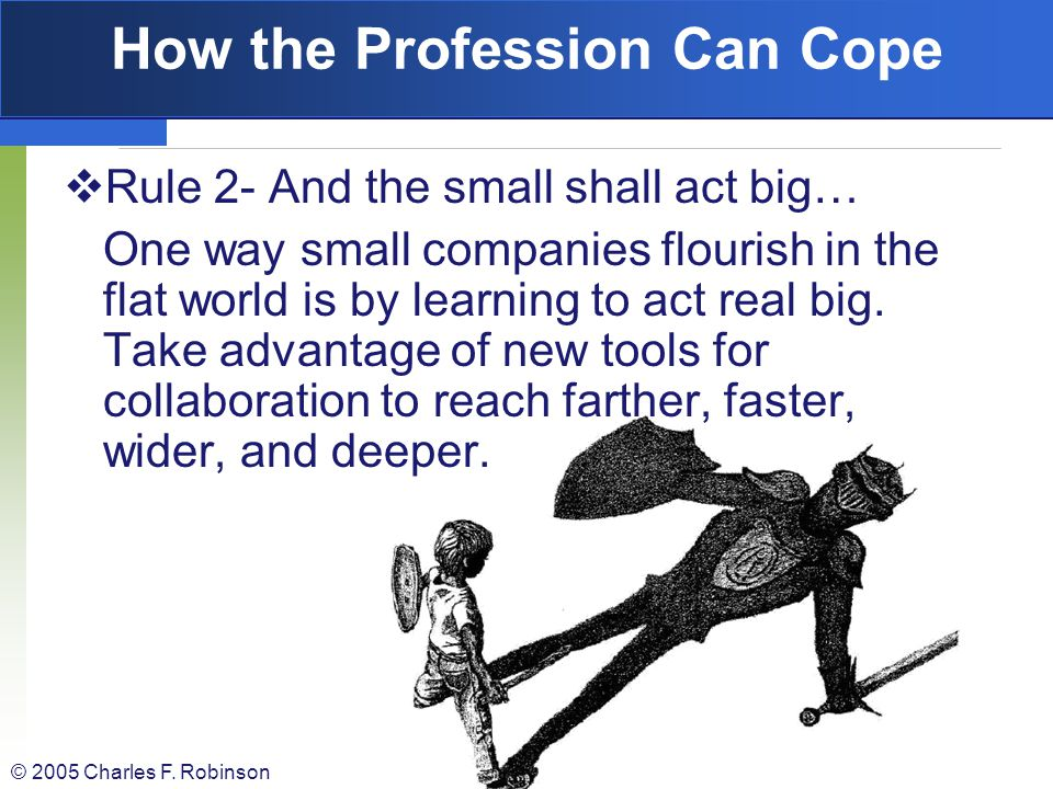 © 2005 Charles F. Robinson How the Profession Can Cope Rule 1: When the world goes flat- and you are feeling flattened- reach for a shovel and dig ins