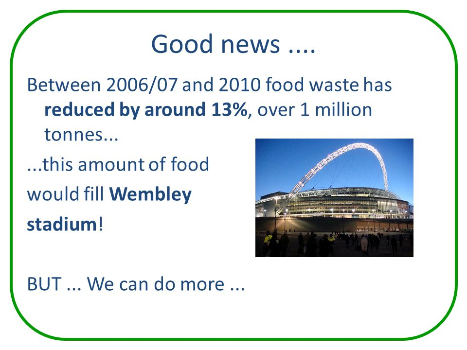 Good news.... Between 2006/07 and 2010 food waste has reduced by around 13%, over 1 million tonnes......this amount of food would fill Wembley stadium