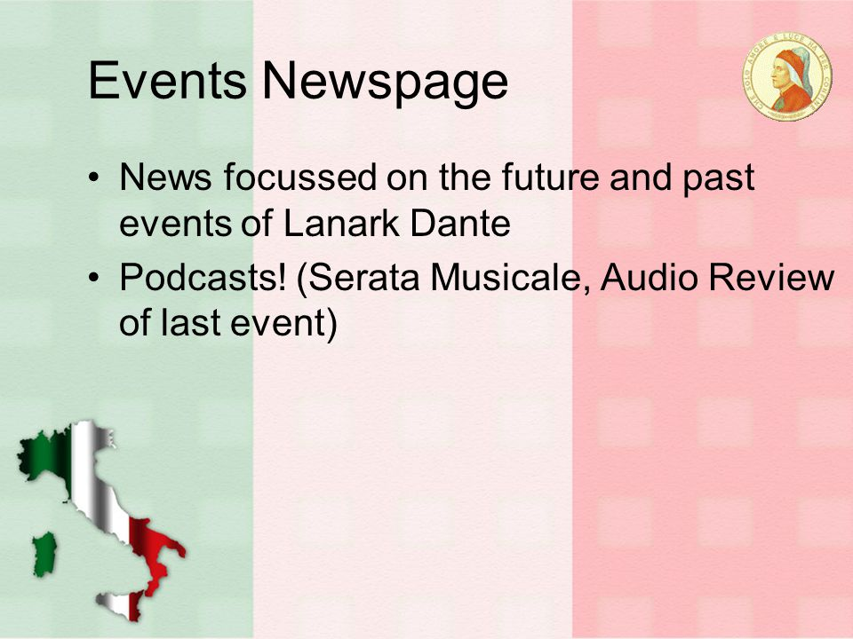 Events Newspage News focussed on the future and past events of Lanark Dante Podcasts.