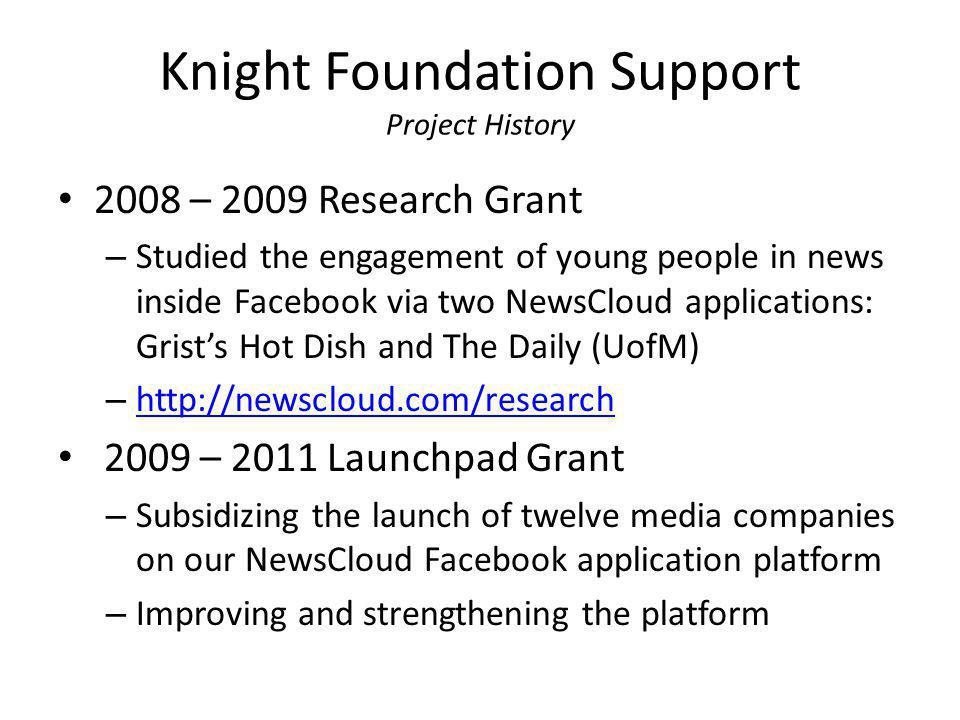 Knight Foundation Support Project History 2008 – 2009 Research Grant – Studied the engagement of young people in news inside Facebook via two NewsClou