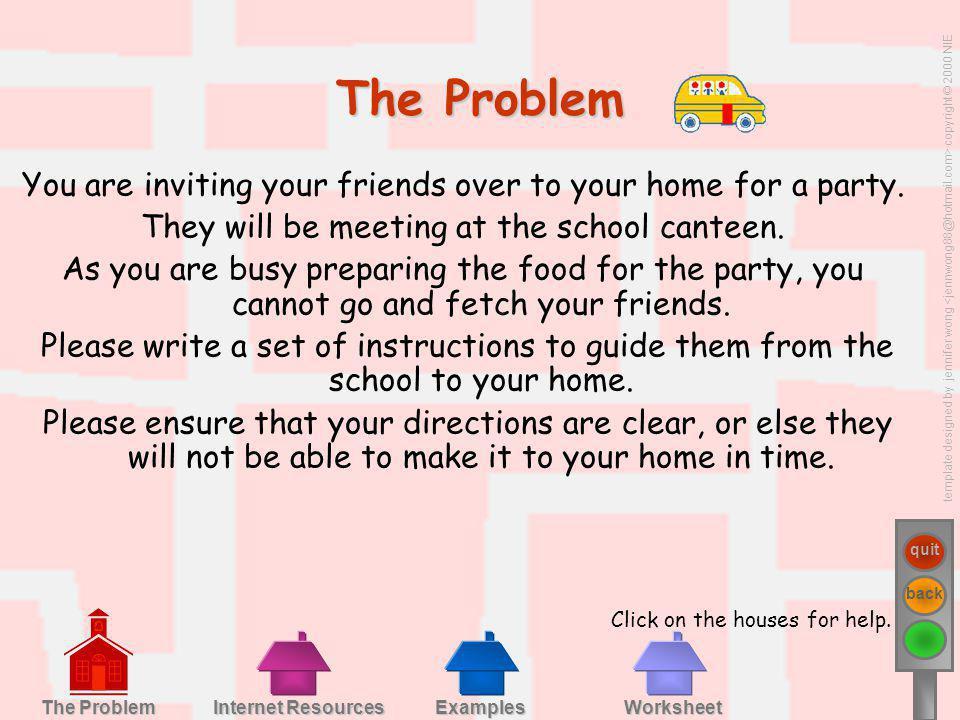 template designed by jennifer wong copyright © 2000 NIE quit back Examples Worksheet Internet Resources Internet Resources The Problem The Problem You