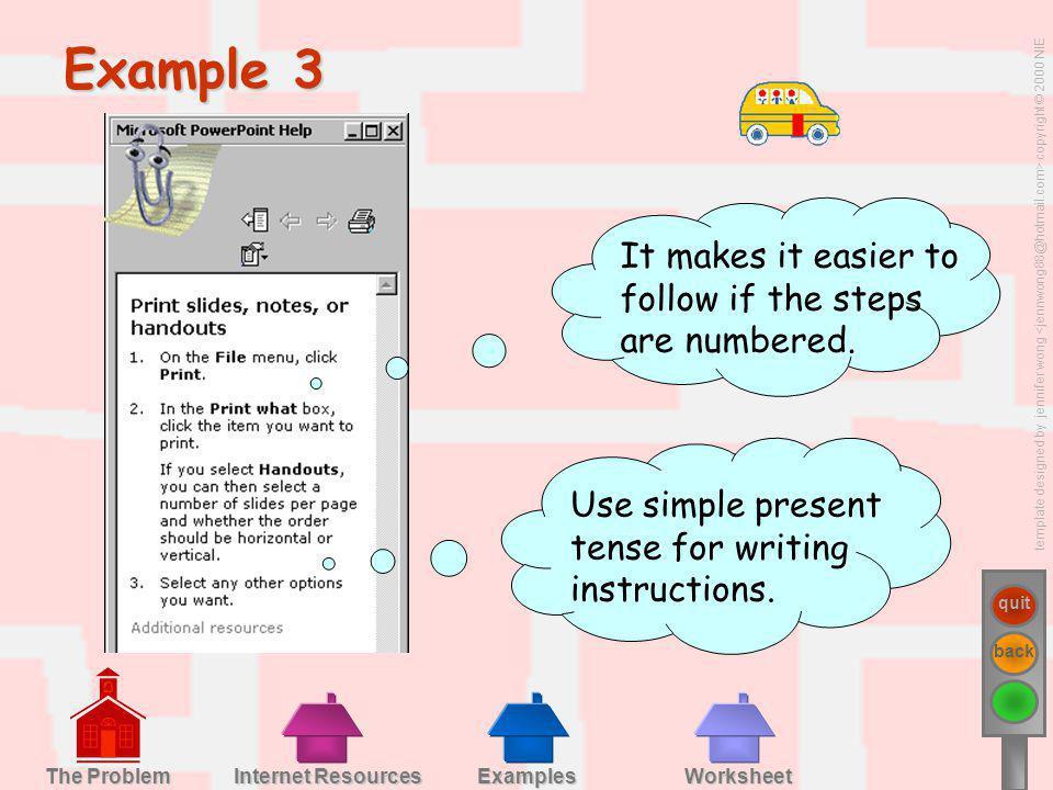 template designed by jennifer wong copyright © 2000 NIE quit back Examples Worksheet Internet Resources Internet Resources The Problem The Problem Exa