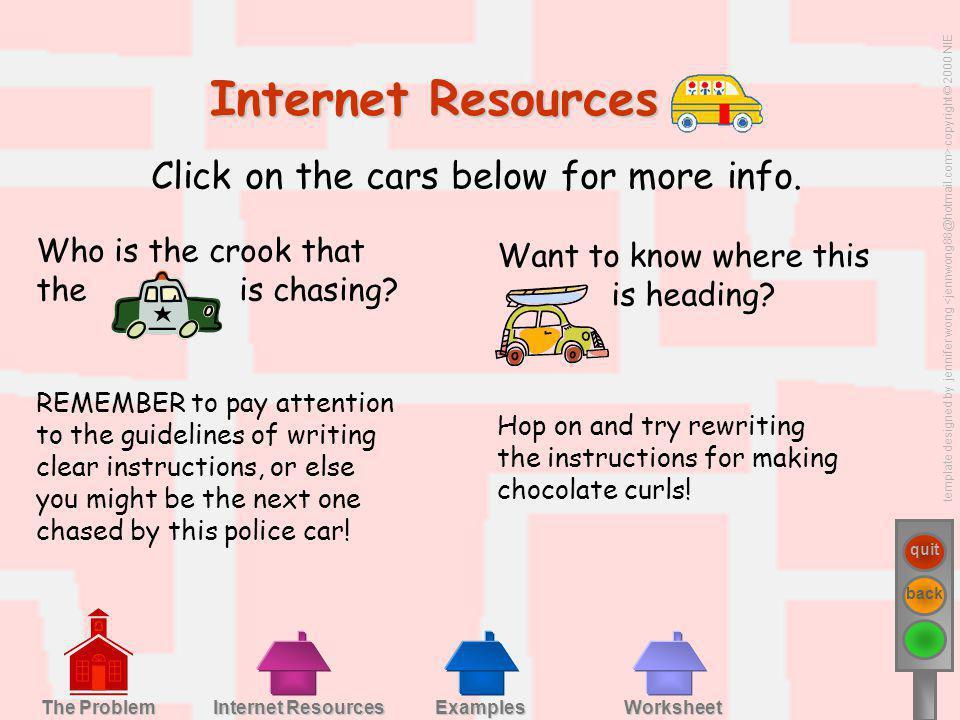 template designed by jennifer wong copyright © 2000 NIE quit back Examples Worksheet Internet Resources Internet Resources The Problem The Problem Int