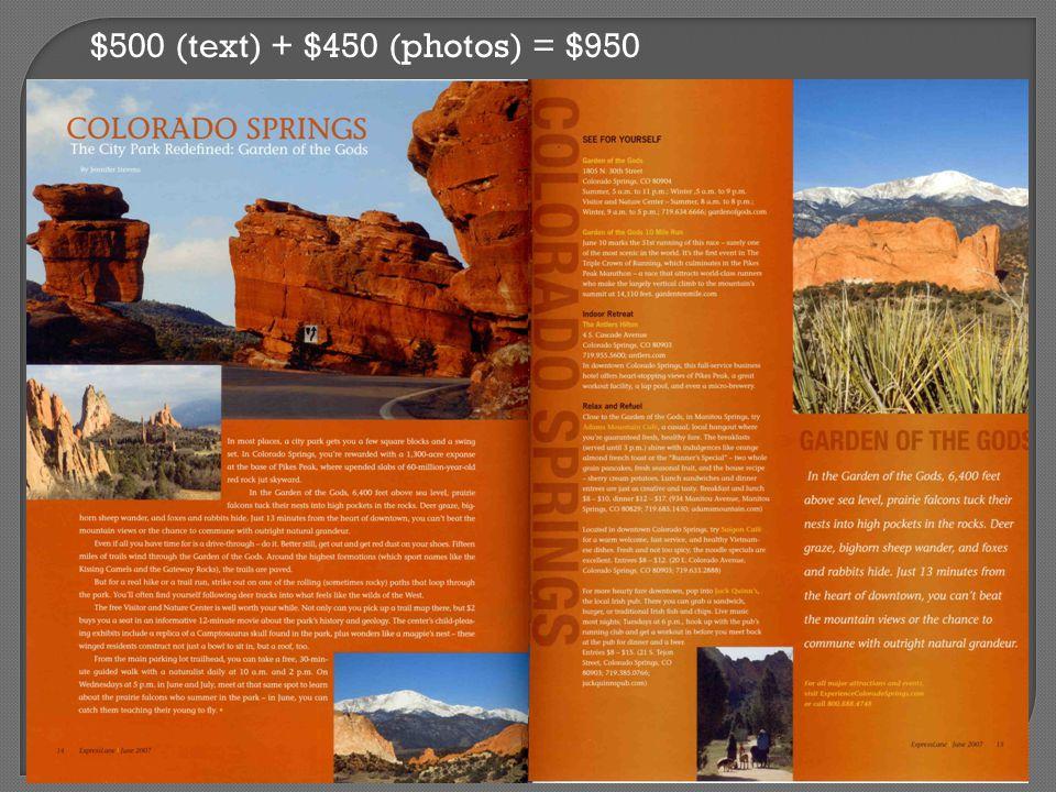 $500 (text) + $450 (photos) = $950