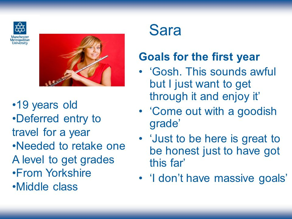 Sara Goals for the first year Gosh.