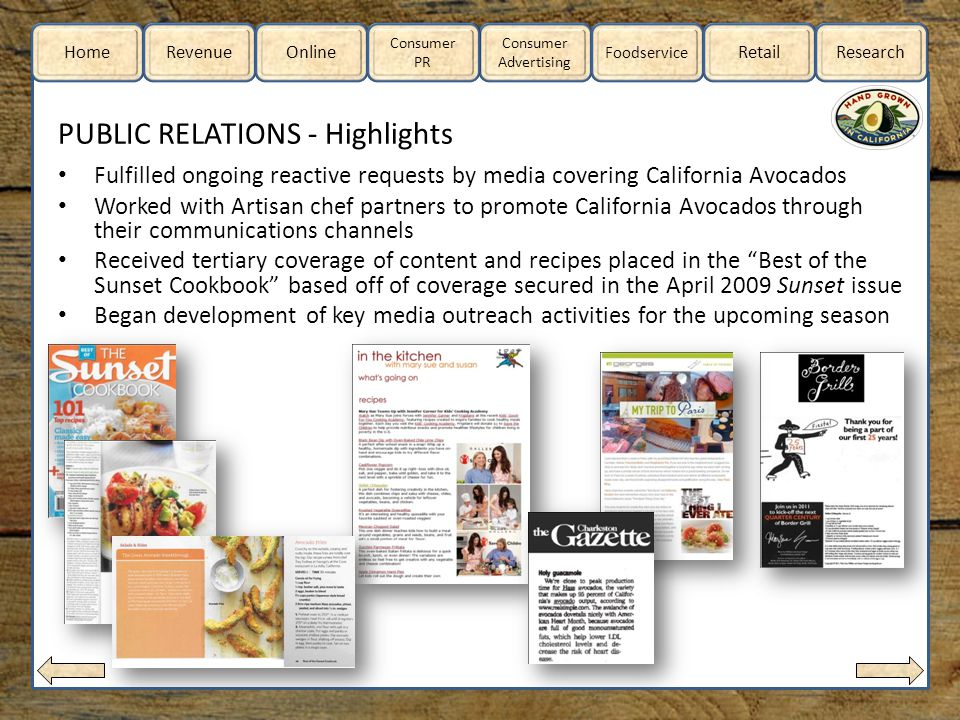 Home RevenueOnline Consumer Advertising Consumer PR Foodservice RetailResearch PUBLIC RELATIONS - Highlights Fulfilled ongoing reactive requests by media covering California Avocados Worked with Artisan chef partners to promote California Avocados through their communications channels Received tertiary coverage of content and recipes placed in the Best of the Sunset Cookbook based off of coverage secured in the April 2009 Sunset issue Began development of key media outreach activities for the upcoming season