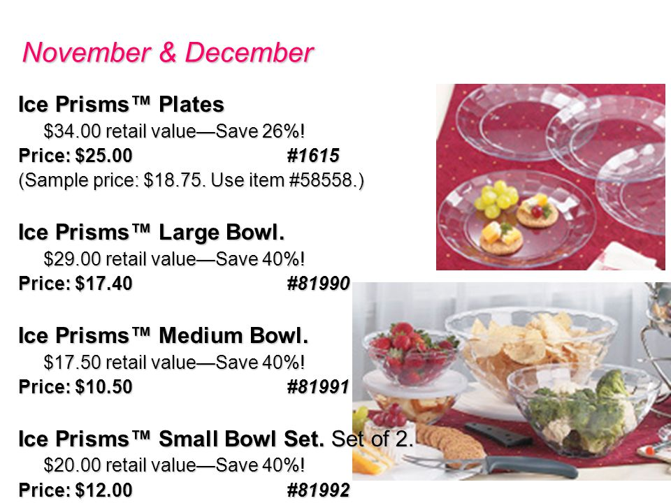 November & December Ice Prisms Plates $34.00 retail valueSave 26%.