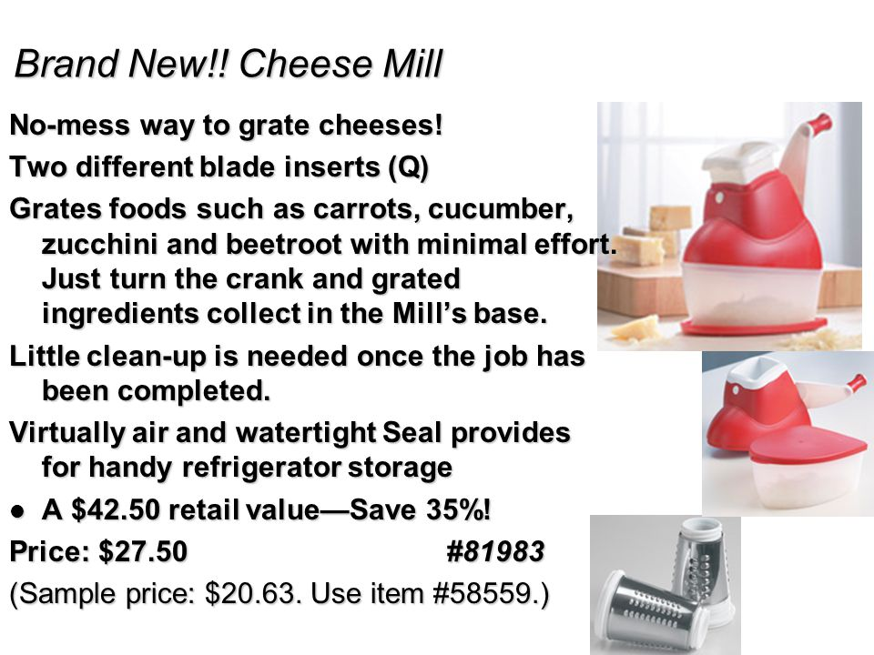 Brand New!. Cheese Mill No-mess way to grate cheeses.