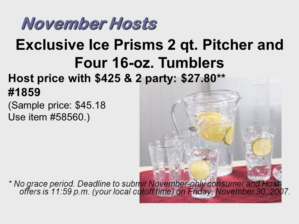 Host price with $425 & 2 party: $27.80** #1859 (Sample price: $45.18 Use item #58560.) * No grace period.
