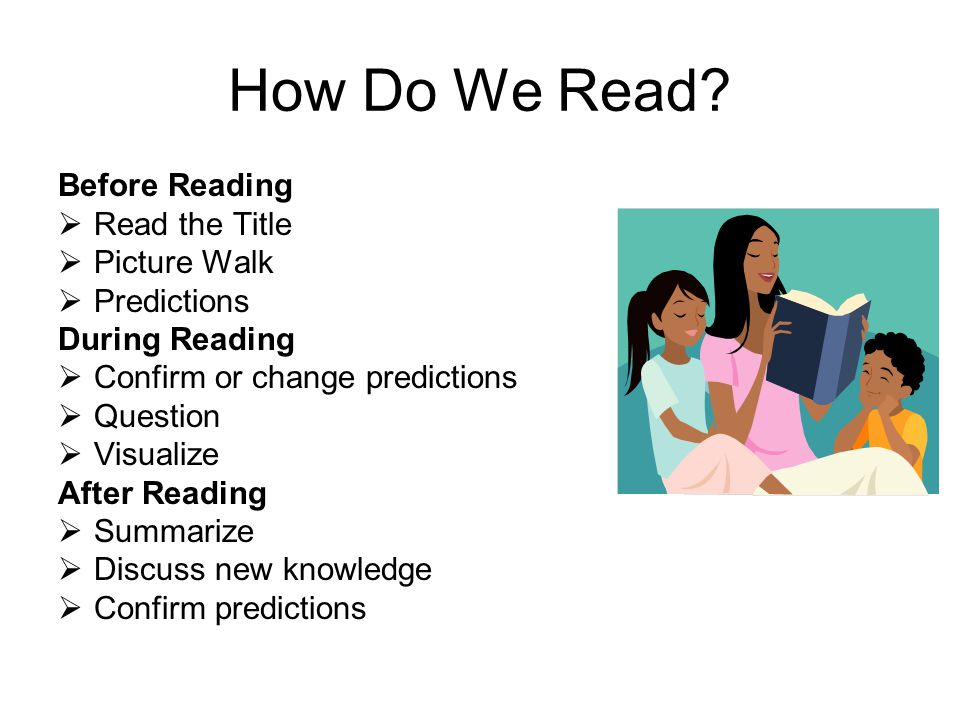 How Do We Read? Before Reading Read the Title Picture Walk Predictions During Reading Confirm or change predictions Question Visualize After Reading S