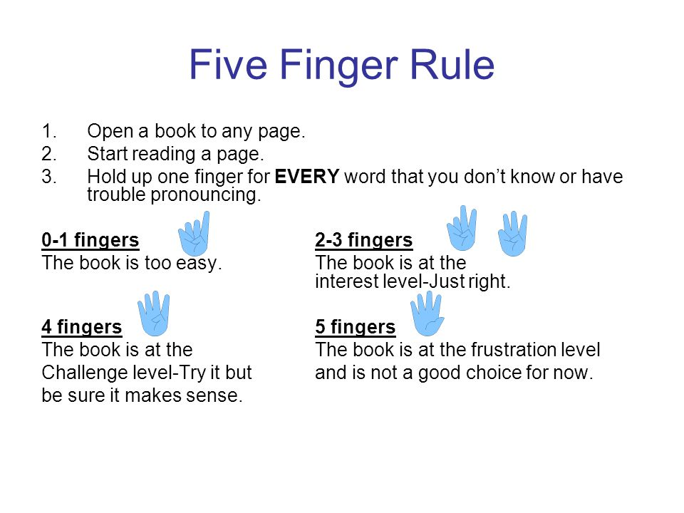 Five Finger Rule 1.Open a book to any page. 2.Start reading a page. 3.Hold up one finger for EVERY word that you dont know or have trouble pronouncing