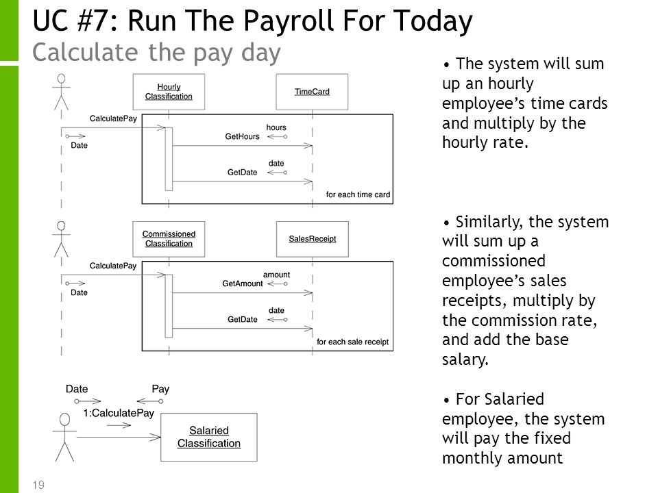 19 UC #7: Run The Payroll For Today Calculate the pay day The system will sum up an hourly employees time cards and multiply by the hourly rate. Simil