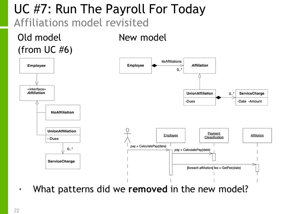 22 UC #7: Run The Payroll For Today Affiliations model revisited Old model New model (from UC #6) What patterns did we removed in the new model?