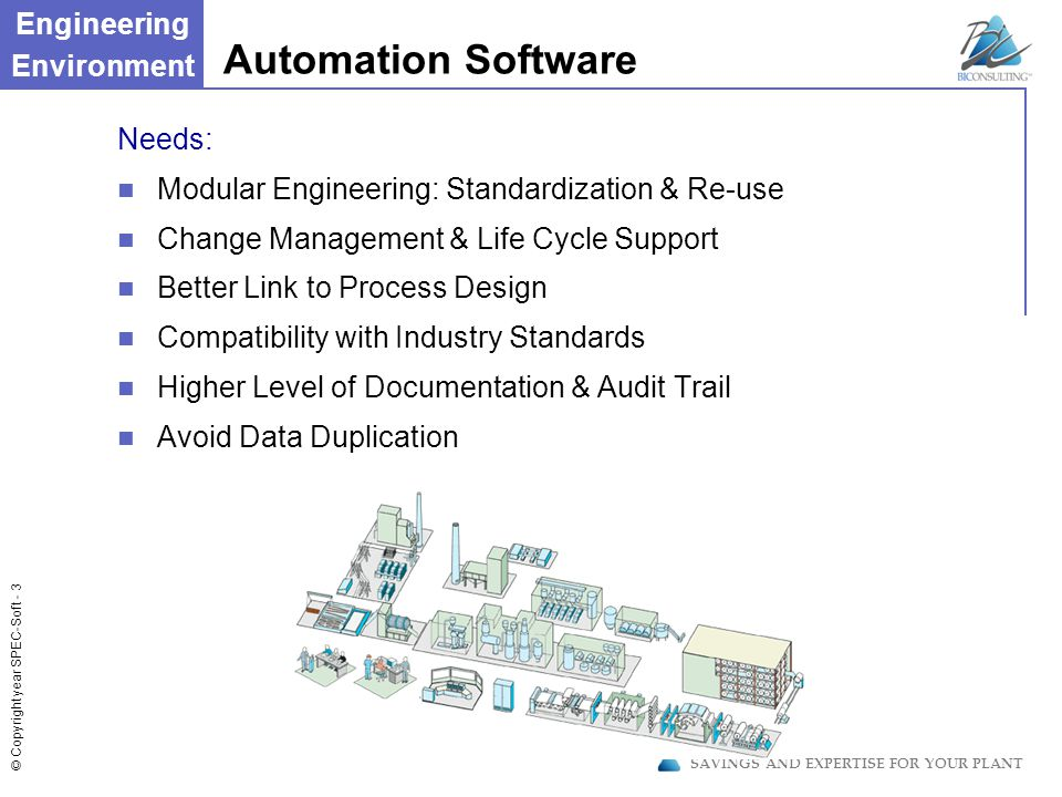 © Copyright year SPEC-Soft - 14 SAVINGS AND EXPERTISE FOR YOUR PLANT PFS-Review - Simulate Your Specification PFS-Review Simulate Recipe & Phase Execution TM Visualize on P&ID Equipment activation Alarms Intervene In Phase Execution Generate failures, verify response Override Sequences Generate Verification Document