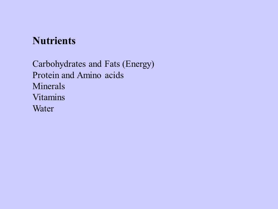 Nutrients Carbohydrates and Fats (Energy) Protein and Amino acids Minerals Vitamins Water