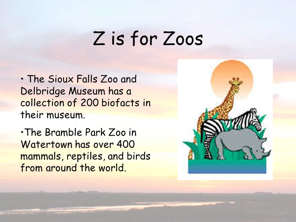 Z is for Zoos The Sioux Falls Zoo and Delbridge Museum has a collection of 200 biofacts in their museum. The Bramble Park Zoo in Watertown has over 40