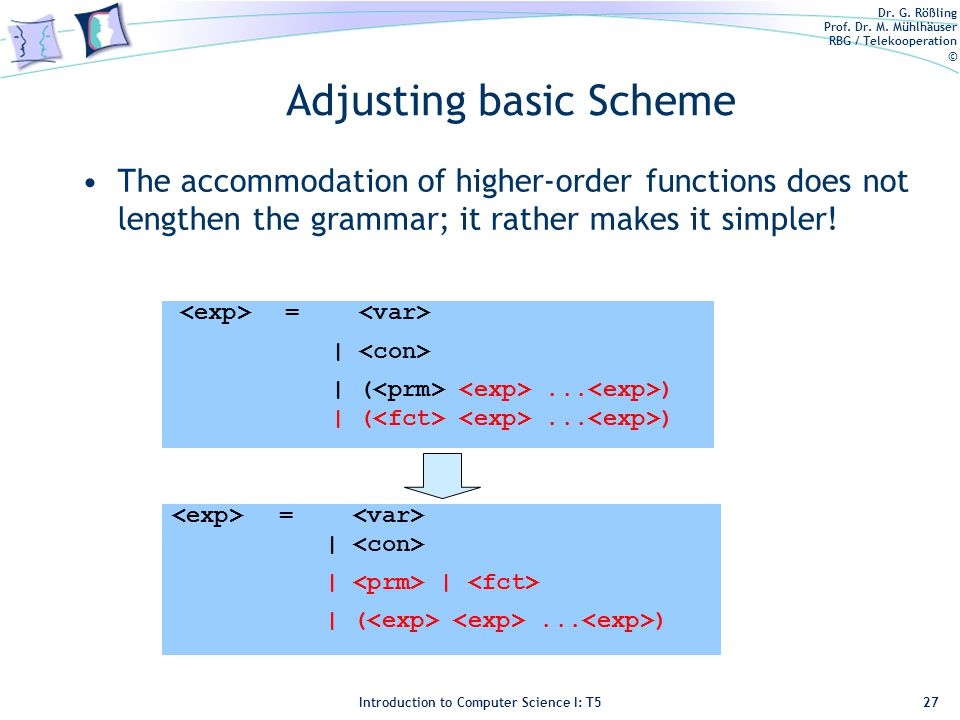 Dr. G. Rößling Prof. Dr. M. Mühlhäuser RBG / Telekooperation © Introduction to Computer Science I: T5 Adjusting basic Scheme The accommodation of high