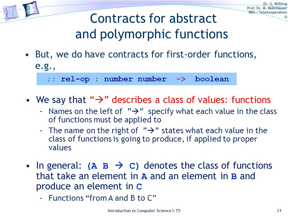 Dr. G. Rößling Prof. Dr. M. Mühlhäuser RBG / Telekooperation © Introduction to Computer Science I: T5 Contracts for abstract and polymorphic functions