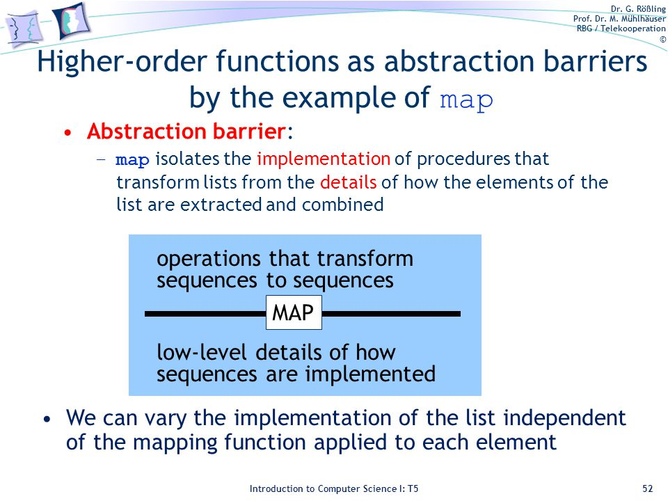 Dr. G. Rößling Prof. Dr. M. Mühlhäuser RBG / Telekooperation © Introduction to Computer Science I: T5 Higher-order functions as abstraction barriers b