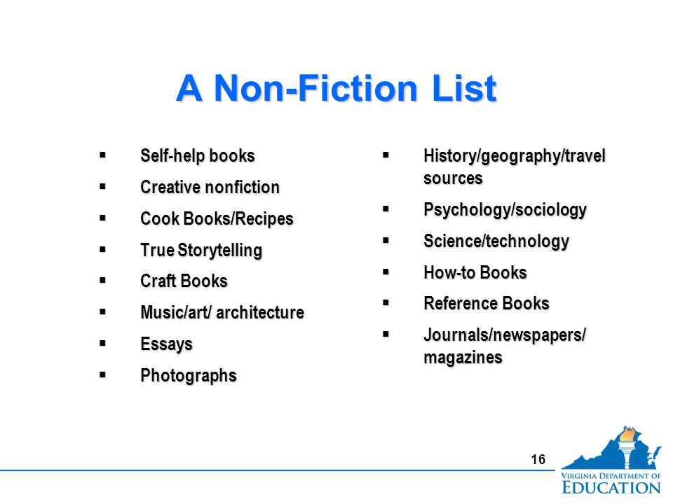 A Non-Fiction List Self-help books Self-help books Creative nonfiction Creative nonfiction Cook Books/Recipes Cook Books/Recipes True Storytelling True Storytelling Craft Books Craft Books Music/art/ architecture Music/art/ architecture Essays Essays Photographs Photographs Self-help books Self-help books Creative nonfiction Creative nonfiction Cook Books/Recipes Cook Books/Recipes True Storytelling True Storytelling Craft Books Craft Books Music/art/ architecture Music/art/ architecture Essays Essays Photographs Photographs History/geography/travel sources History/geography/travel sources Psychology/sociology Psychology/sociology Science/technology Science/technology How-to Books How-to Books Reference Books Reference Books Journals/newspapers/ magazines Journals/newspapers/ magazines 16