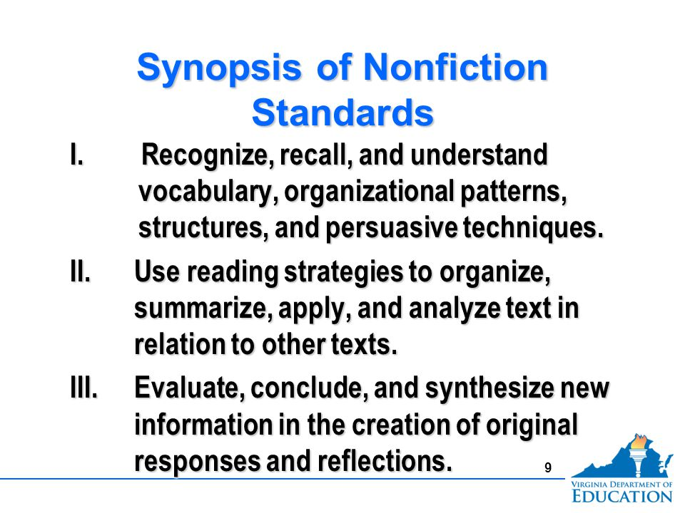 Synopsis of Nonfiction Standards I.