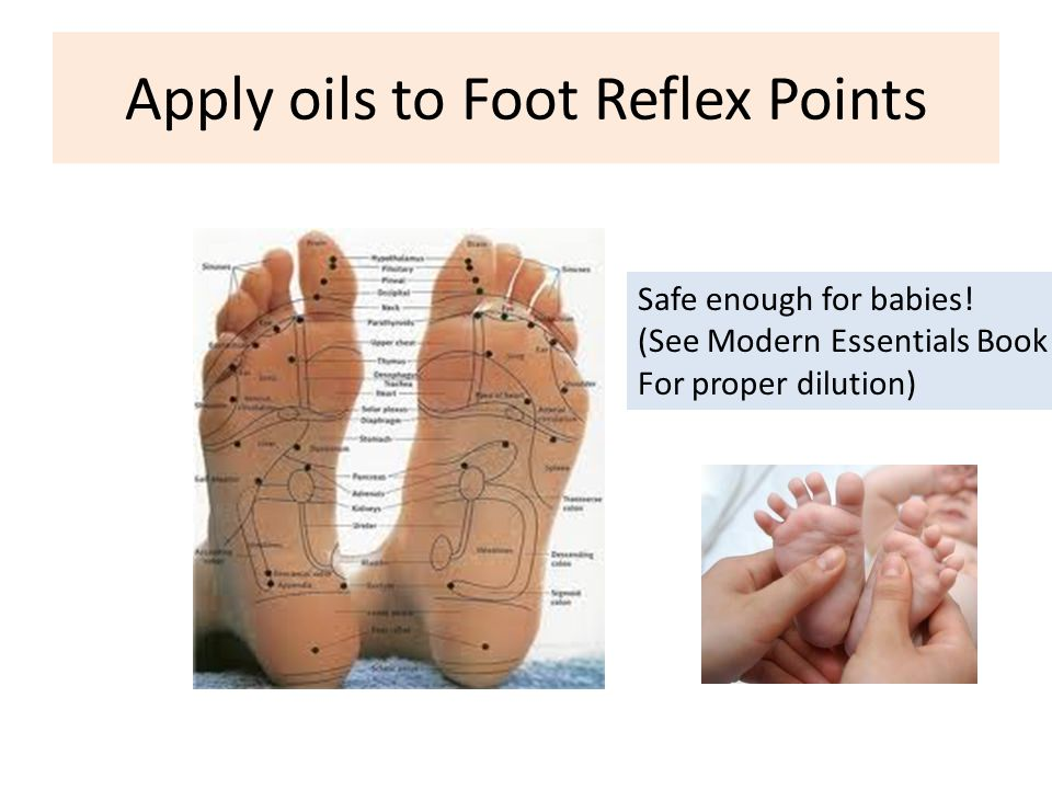 Apply oils to Foot Reflex Points Safe enough for babies! (See Modern Essentials Book For proper dilution)