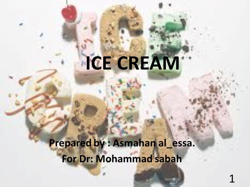 ICE CREAM Prepared by : Asmahan al_essa. For Dr: Mohammad sabah 1