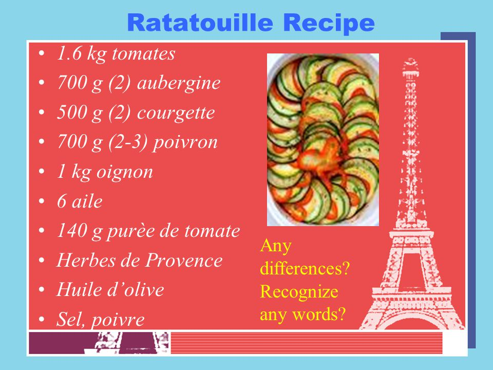 Ratatouille Recipe 1.6 kg tomates 700 g (2) aubergine 500 g (2) courgette 700 g (2-3) poivron 1 kg oignon 6 aile 140 g purèe de tomate Herbes de Prove