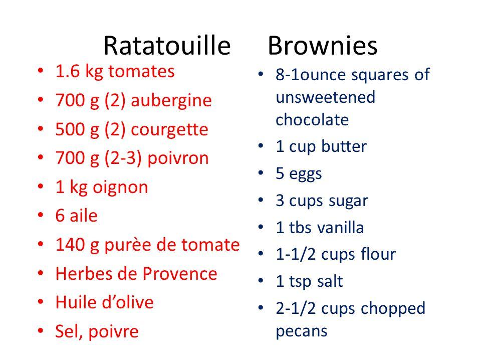 Ratatouille Brownies 1.6 kg tomates 700 g (2) aubergine 500 g (2) courgette 700 g (2-3) poivron 1 kg oignon 6 aile 140 g purèe de tomate Herbes de Pro