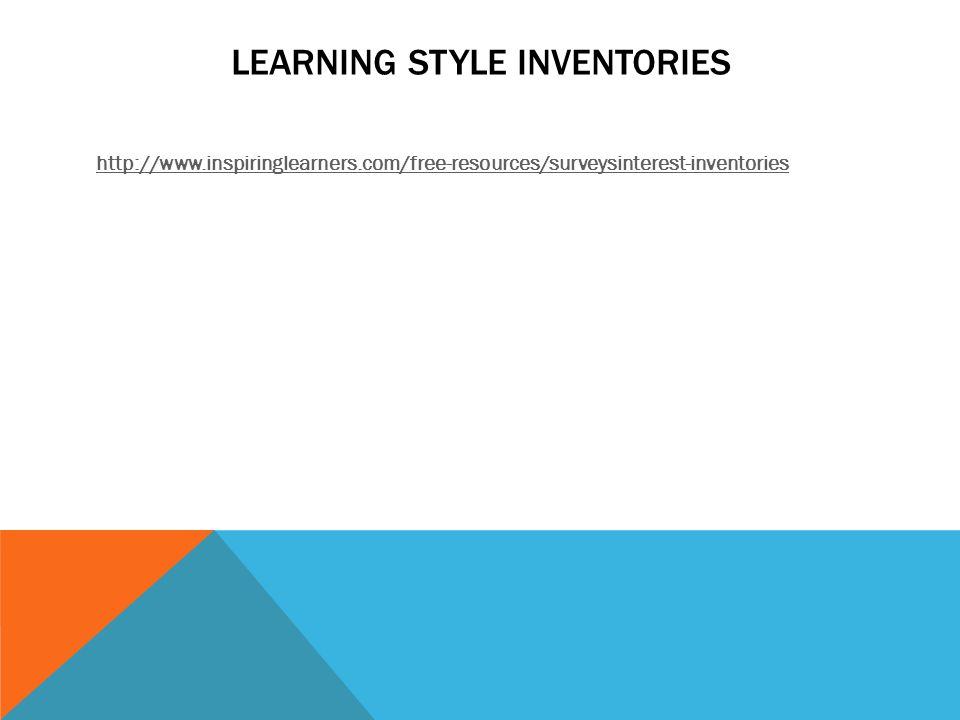 LEARNING STYLE INVENTORIES http://www.inspiringlearners.com/free-resources/surveysinterest-inventories