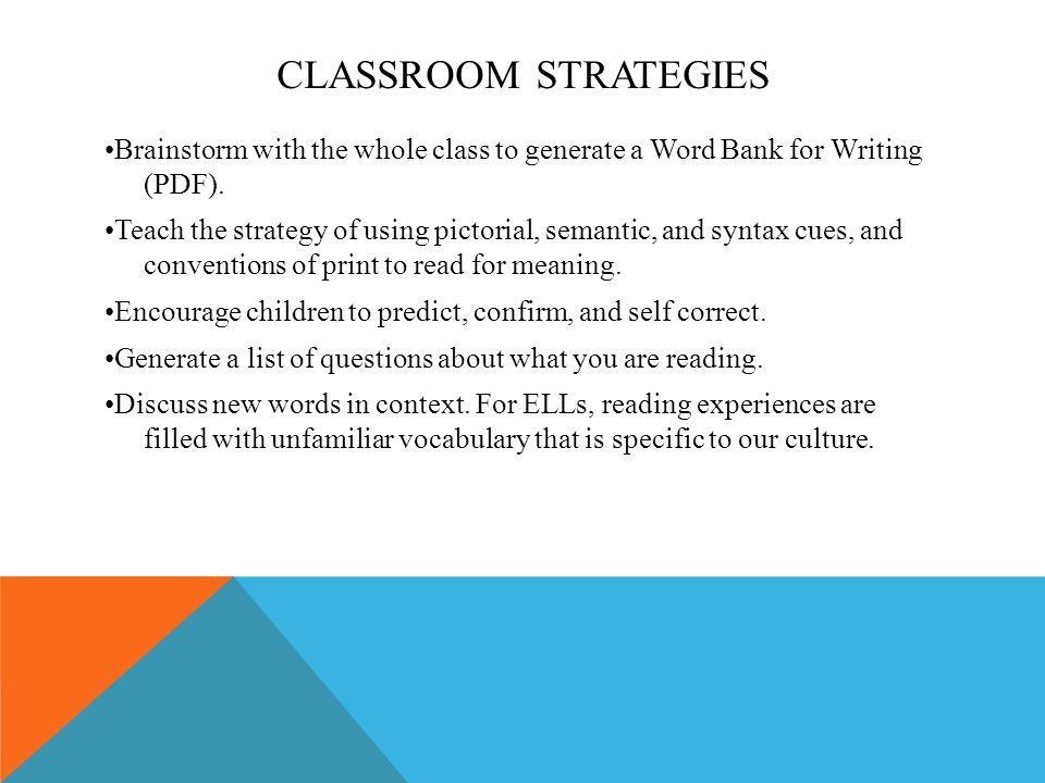 CLASSROOM STRATEGIES Brainstorm with the whole class to generate a Word Bank for Writing (PDF).