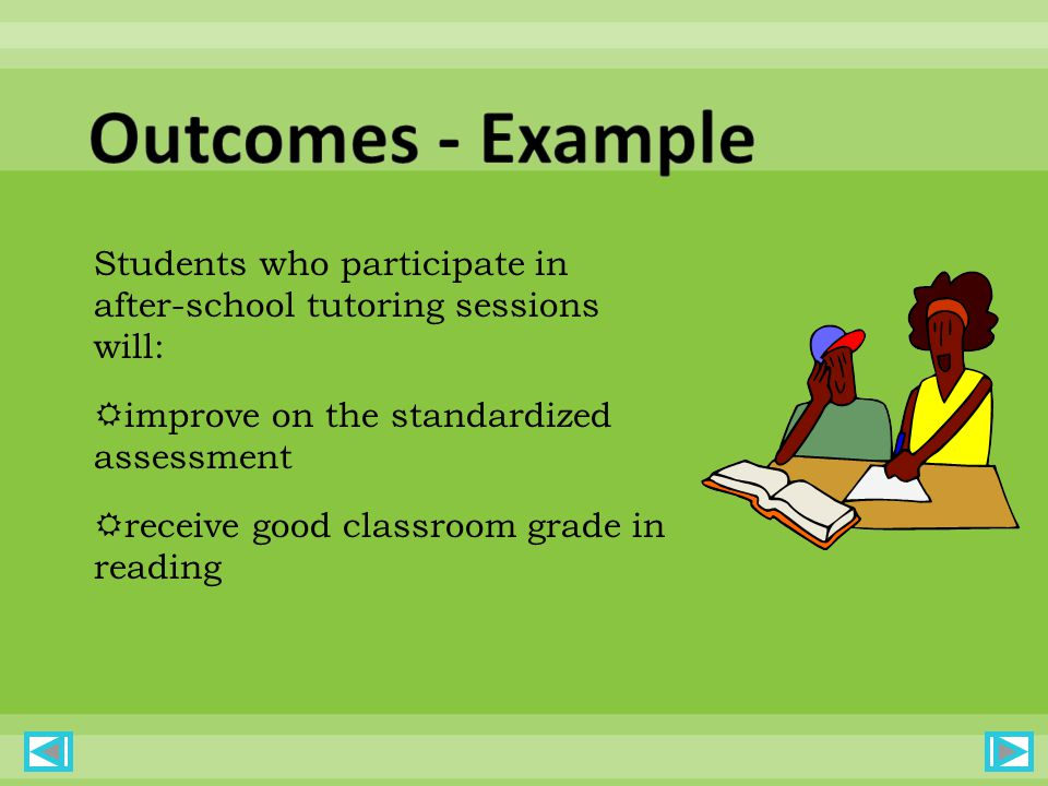 Students who participate in after-school tutoring sessions will: improve on the standardized assessment receive good classroom grade in reading