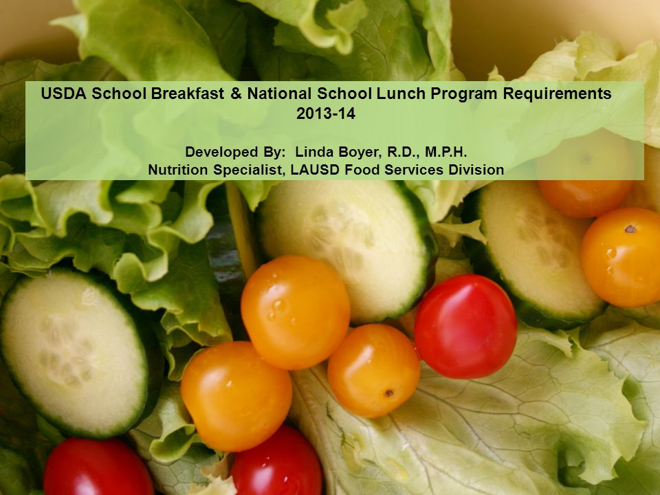 USDA School Breakfast & National School Lunch Program Requirements 2013-14 Developed By: Linda Boyer, R.D., M.P.H. Nutrition Specialist, LAUSD Food Se