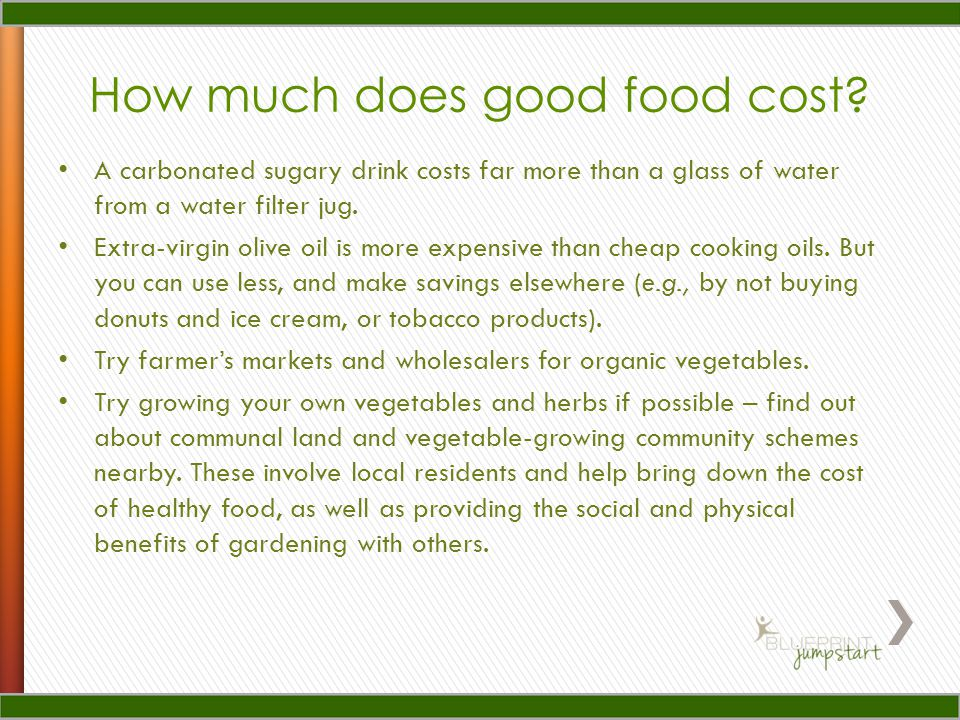 How much does good food cost.