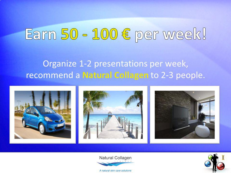 Organize 1-2 presentations per week, recommend a Natural Collagen to 2-3 people.