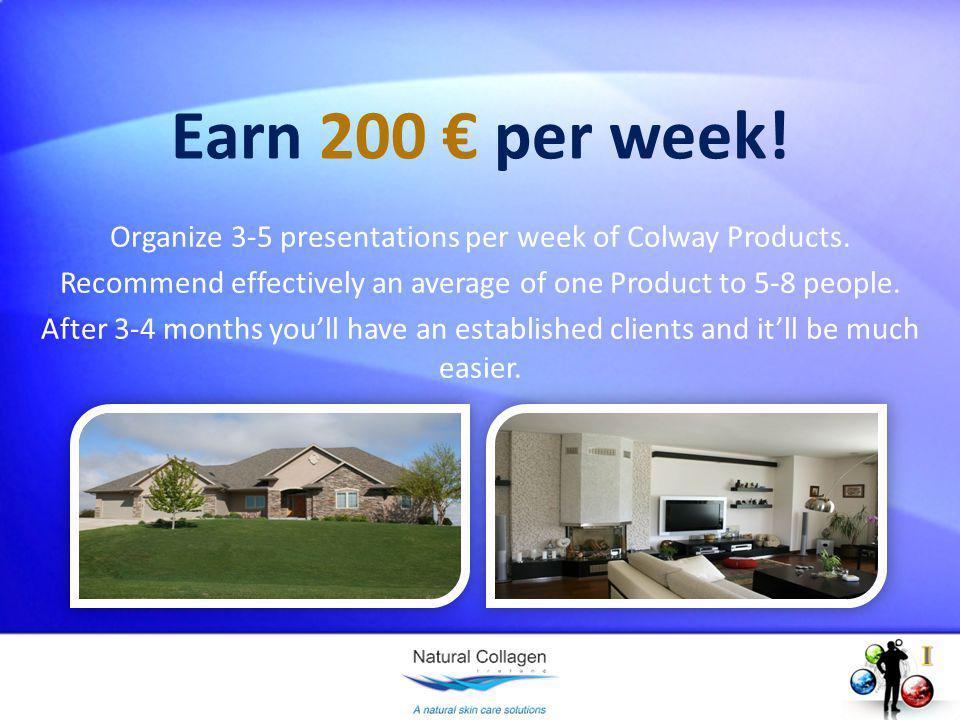 Earn 200 per week. Organize 3-5 presentations per week of Colway Products.