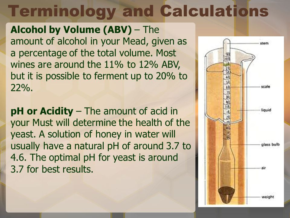 Terminology and Calculations Alcohol by Volume (ABV) – The amount of alcohol in your Mead, given as a percentage of the total volume. Most wines are a