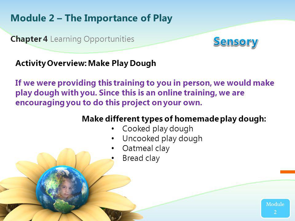 Module 2 Activity Overview: Make Play Dough If we were providing this training to you in person, we would make play dough with you. Since this is an o