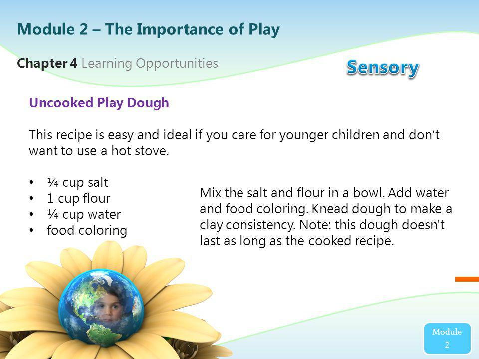 Module 2 Chapter 4 Learning Opportunities Uncooked Play Dough This recipe is easy and ideal if you care for younger children and dont want to use a ho