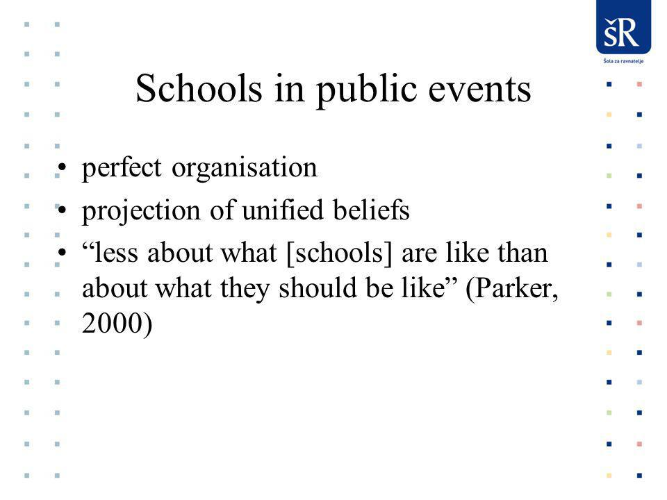 Schools in public events perfect organisation projection of unified beliefs less about what [schools] are like than about what they should be like (Parker, 2000)
