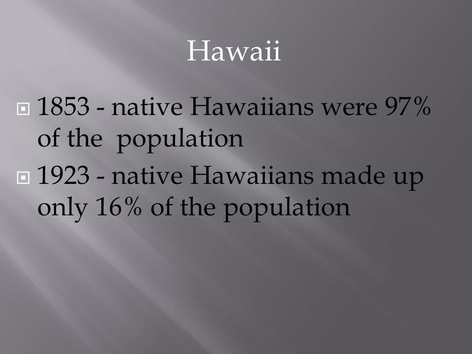 1853 - native Hawaiians were 97% of the population 1923 - native Hawaiians made up only 16% of the population Hawaii