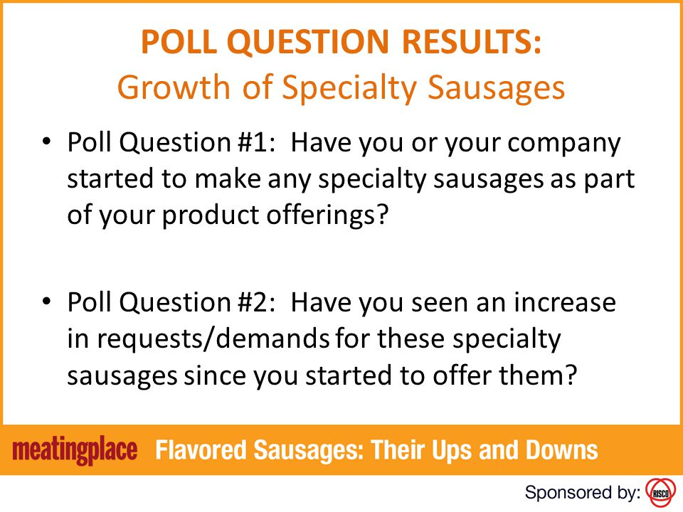 POLL QUESTION RESULTS: Growth of Specialty Sausages Poll Question #1: Have you or your company started to make any specialty sausages as part of your