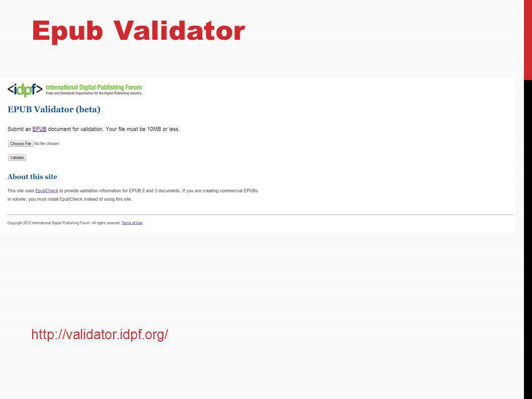 Epub Validator http://validator.idpf.org/