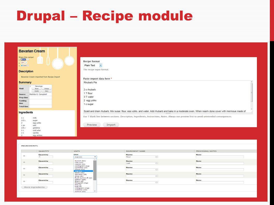 Drupal – Recipe module