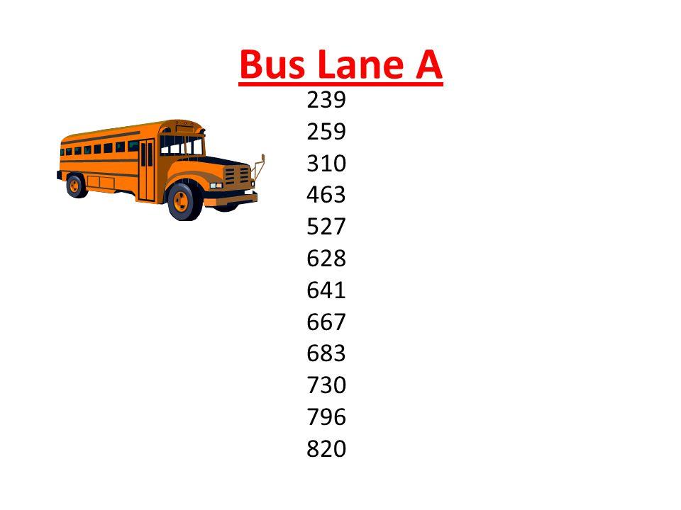 Bus Lane A 239 259 310 463 527 628 641 667 683 730 796 820
